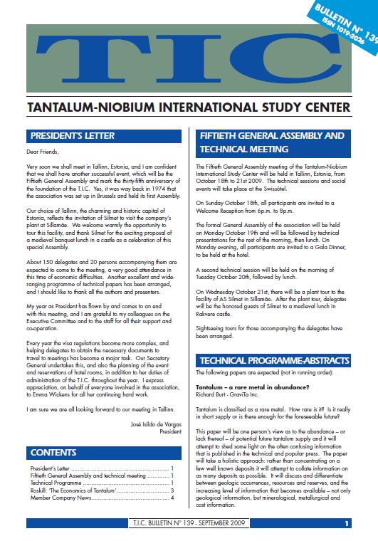 Bulletin No.139 September 2009 .